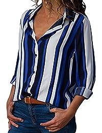 Hevoiok Langarmshirt Damen Herbst Fashion Casual Knopf Streifen Top T-Shirt  Blusentop Fraun Lange Ärmel c21803d814
