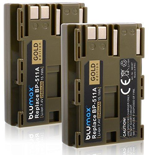 2x Blumax Gold Edition BP-511 / BP-511A Akku kompatibel mit Canon EOS 5D/ 10D/ 20D/ 300D/ 30D/ 40D/ 50D uvm 2040mAh 7,4V 15,1Wh