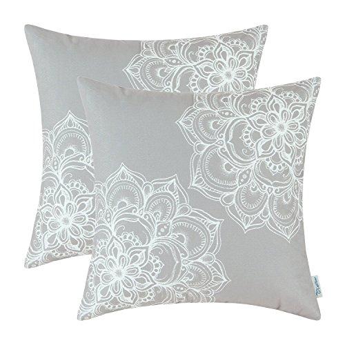 Packung mit 2 CaliTime Home Kissenezug Stamm Vintage Dahlie Blumen 50cm X 50cm Grau