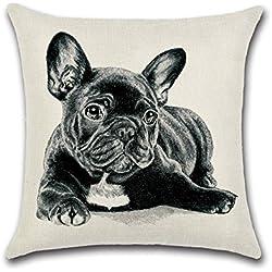 Excelsio Cute Bulldog Funda de Cojín para Sofá Cama Salón Dormitorio Hogar Decoración Personalizada Cuadrado Algodón Lino Cojín Fundas de Cojín 45 x 45 cm