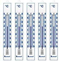 Lantelme 4086 Set 5 Stück Analog Innen, Aussen, Garten Thermometer Kunststoff weiss