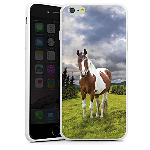 Apple iPhone X Silikon Hülle Case Schutzhülle Pferd Stute Mustang Silikon Case weiß