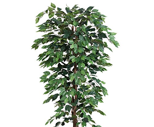 Kunstbaum 200cm Ficus Benjamini grün mit 2064 Blätter aus Textilfaser Material - 3
