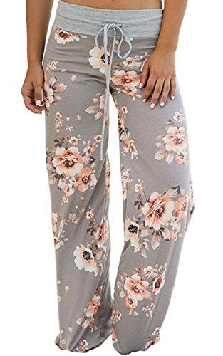 Angashion Damen Blumenmuster Weite Bein Lange Hose, Grau2, EU XL(40)