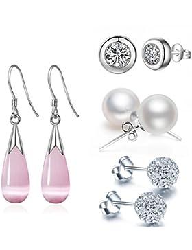 Tropfen Ohrringe Set Damen - Silber Farbe Kugel Jette Runde Perlen Klipp Ohrstecker Schmuck MäDchen