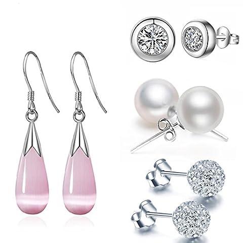 Dangle Drop Earrings Set for Womens - Silver CZ Ball Pearl Piercing Ear Artificial Jewellery 4 Pairs