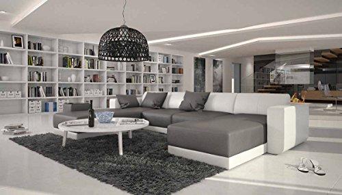 SalesFever XXL Wohn-Landschaft mit Kunstleder Bezug 340x220 cm U-Form grau/weiß | Maferra-U | Designer Eck-Sofa mit Recamiere Links | Couch-Garnitur für Wohnzimmer grau/Weiss 340cm x 220cm