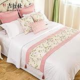 Bett Renner Hochwertiges Hotel Bed & Breakfast Bett Amerikanisches Handtuch Gartenbett Bett Bett Bettdecke moderne minimalistische Home Table-Flagge, rosa Bettflagge - Bildfarbe, 50cmx180cm Bettflagge