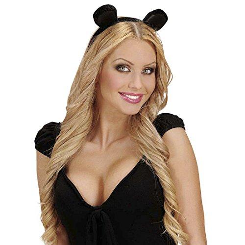 Accessoires Maus Kostüme (Mäuschen Ohren Minnie Mouse Haarreifen Samt Maus Tierohren Mausohren am Haarreif Kostüm Accessoires Mäuschen Kopfschmuck Tier)