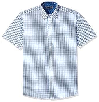John Miller Men' s Formal Shirt (8907372331379_1OS88301_39_Navy and Blue)