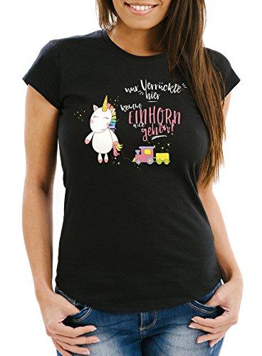 Nur T-shirt (Damen T-Shirt Nur Verrückte hier komm Einhorn wir gehen Unicorn Sprüche Spruch Slim Fit Moonworks® schwarz-pink XXL)