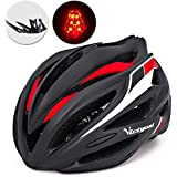 VICTGOAL Bicycle Helmet with Detachable Visor Back Light & Insect Net Padded Adjustable Sport Cycling Helmet Lightweight Mountain Bike Helmets for Adult Men and Women