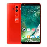 5.7'Ultrathin Android 6.0 Dual-Core 512MB + 4GB gsm / 3G WiFi Dual Camera Dual Cell Phone telefono movil Basico Soporte para telefono movil telefono movil Bebe Soporte telefono movil Cargador (Rojo)