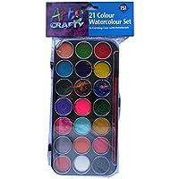 Acuarela Paquete de Pintura - 21 Diferentes Colores - con estuche de transporte y cepillo