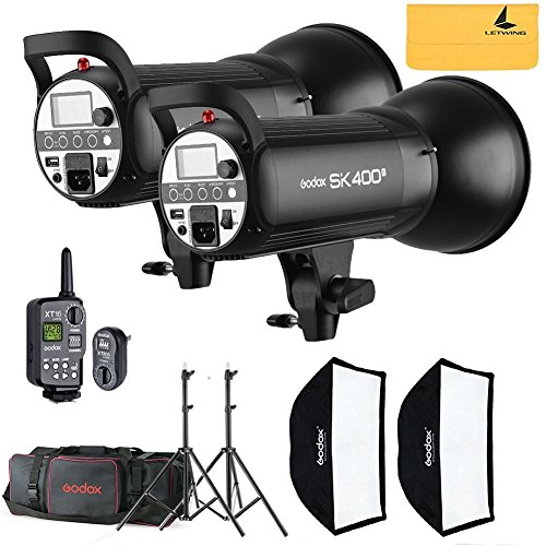 Flash-strobe Light-fotografie (Godox sk400ii 800 W 2.4 G Photography Flash Studio Strobe Kit Two 400 W sk400ii Monolight Lighting, Includes 2 x 400 W sk400ii Strobe Light + 2 x Light Stand + 2 x 60 x 90 cm Soft box + 1 x Standard Reflektor + xt-16)
