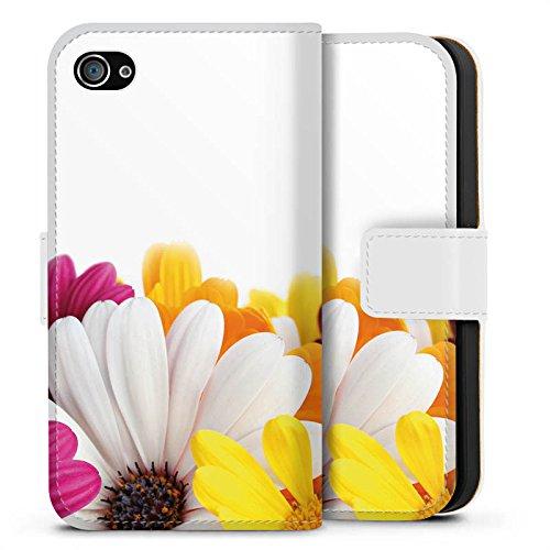 Apple iPhone X Silikon Hülle Case Schutzhülle Blumen Margerite Blüten Sideflip Tasche weiß