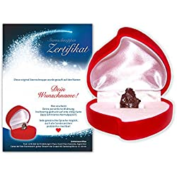 Echte Sternschnuppe in roter Herzbox ✪ inkl. DEINEM WUNSCHTEXT auf persönlichem Widmungszertifikat | als Geburtstagsgeschenk, zur Taufe oder zum Valentinstag