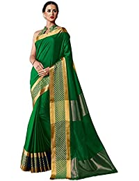 Shreeji Ethnic Women's Cotton Silk Saree With Zari Border Saree With Blouse Piece(Multi-Coloured)