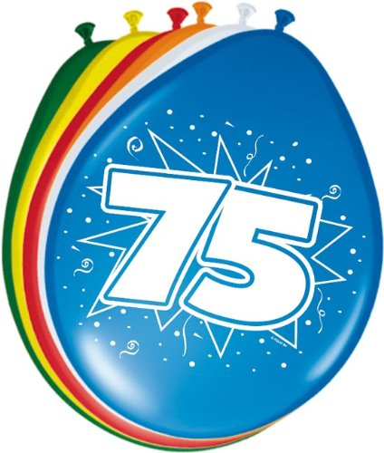 8 Luftballons Zahl 75 Geburtstag bunt (75. Geburtstag)