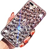Miagon Glänzend Hülle für Huawei P10 Lite,3D Handschlaufe Glitzer Bling Strass Hülle Diamant Transparent Handyhülle Bumper Case Tasche Schutzhülle,Rosa Klar