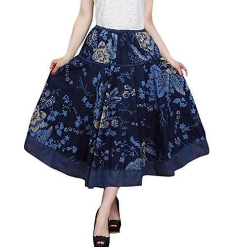 Feoya Étnico Falda Larga Casual Estampado Floral Bohemia Maxi Skirt para Verano Playa Viaje para Mujeres, Azul