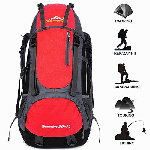 55 Litros Impermeable Mochila de Senderismo, al Aire Libre Ligero Sport Daypack para Camping, Senderismo, Pesca, Esquí, Ciclismo, Alpinismo, etc, Mochila Pack Adecuado para Hombres y Mujeres (Rojo)