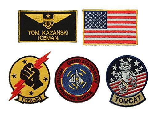 ONEKOOL Top Gun Tom Kazanski Iceman Bügelbilder-Set, (Gun Top Kostüme Für Kinder)