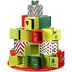 Spielwerk Calendrier de l'Avent XXL Rond en Bois Fait Main 24 Compartiments avec Portes Fermeture magnétique Noël décoration réutilisable Maison Enfant fêtes