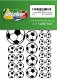 114 Aufkleber, Fußball, Sticker, 15-50 mm, weiß/schwarz, aus PVC, Folie, bedruckt, selbstklebend, EM, WM, Bundesliga