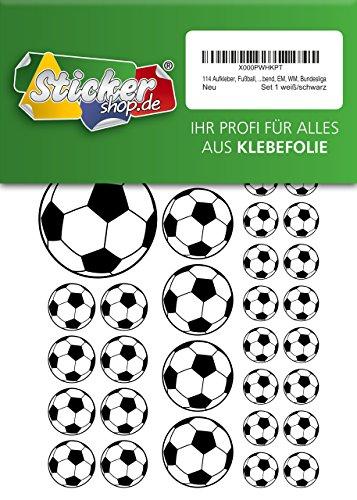 114, Fútbol, pegatinas, 15–50mm, color blanco/negro, de PVC, pantalla, estampado, autoadhesivo, EM, WM, Bundesliga