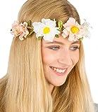 """SIX """"Blumen"""" elastisches Haarband Haarschmuck Haarreif Blumenkranz mit geflochtenem Band rosa und weiße Blumen mit grünen Blättern, Festival (456-236)"""