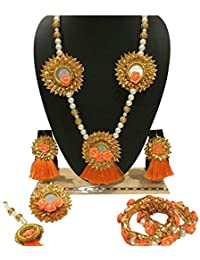 Orange Color Florel Jewelry Handmade Pearl Flower Gota Patti Jewelry Set With Maang Tika, Bangles, Ring & Earrings...