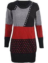 TOOGOO(R)Damen Strickpullover Blusen Oberseiten Rundausschnitt Pullover  Langarm Shirt Schwarz + Grau + b06af9d458