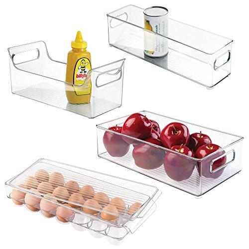 mDesign 4er-Set Kühlschrankbox - 2 x Kühlschrankboxen, Gewürz Caddy und Eierbox mit Deckel - praktische Aufbewahrungsboxen aus Kunststoff - ideale Küchen Ablage für den Kühlschrank - durchsichtig -