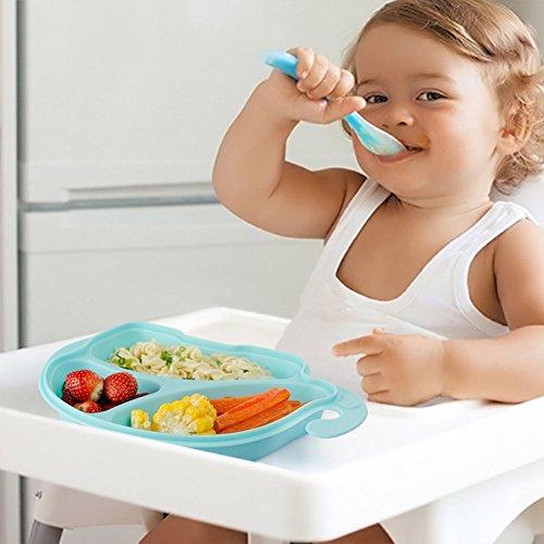 Kinder geteilt Teller mit Deckel Fun Elefant rutschfeste Hänge Abschnitt Fütterung Platten für Baby und Kleinkind, BPA frei 12M + - Blau (Kinder-geteilte Platte)