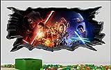 BAOWANG Stickers muraux Mur de craquage Star Wars effet de mur 3D effet sticker mural autocollant murale 95cm x 44cm