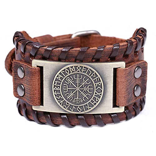 Jubuk Herren Armbänder Skyrim Vintage Viking Compass Echtes Leder Armband für Mann Armreif Nordic Runes Odin Symbol Wrap Schmuck Zubehör, Mehrfarbig, E