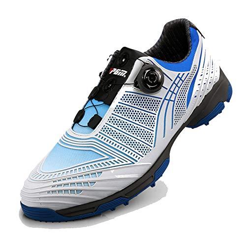 SHENMINJ Scarpe da Golf da Uomo, Fibbia con manopole e Sneakers con Doppio Brevetto Scarpe da Ginnastica Resistenti allo Scivolamento,Blu,45