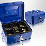 20cm Blau Geldkassette Münzkassette Geldkasse Geld Kasse Safe Zählkassette Transportkassette Kasse Transportbox 200mm