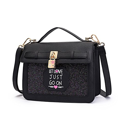 Pacchetto di moda, versione coreana dello zaino obliquo semplice selvaggio, borsa a tracolla mini studenti ( Colore : Rosa ) Nero