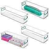 mDesign Juego de 4 cajas de almacenaje con asas integradas - Cajas organizadoras para cocina, baño o material de oficina - Organizador de escritorio en plástico - transparente/azul