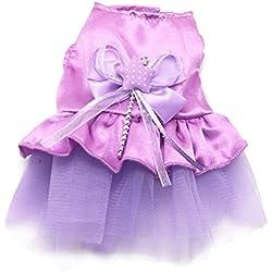Tutu de mascotas - SODIAL(R) Tutu de lazo de gato perro vestido falda de encaje de perrito ropa para mascotas traje del perro (Purpura, XXS)