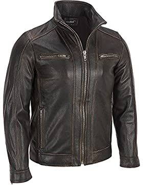 Superior–Prendas de Piel para hombre, color negro (Faded costura chaqueta de piel auténtica de vaca