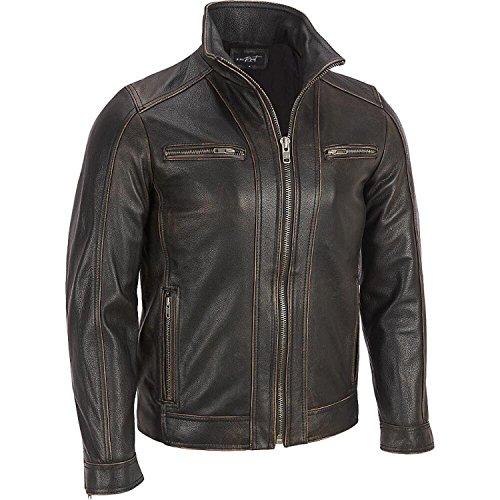 Superior Leather Garments, giacca con rivetto, da uomo, di colore nero, in vera pelle di mucca Black X-Large-Per Person Di Petto 109 cm
