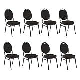 Bankettstühle 8er Set Konferenzstühle Saalstühle stapelbar schwarz