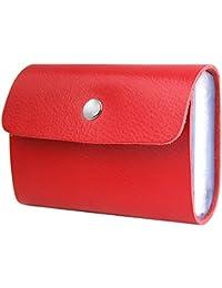 TRIXES Porte-Cartes Portefeuille Rouge en Simili Cuir avec 26 Pochettes Transparentes