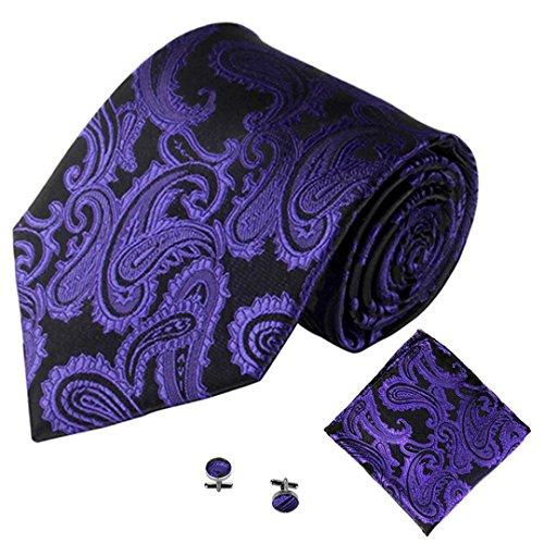 SOMESUN Gewebtem Jacquard Herren Krawatten Taschentuch Manschettenknopf 3PCS Paisley Cashew Taschen (lila #2)
