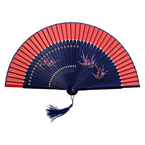 Langde Handfächer Japanischer Damen Faltfächer Bambus Fans Vintage Holz Spanische Schwarz Fächer Sommer Klappfächer als Party Kostüm Hochzeit Geschenk Tanz Flamenco - Spanischen Flamenco Tanz Kostüm