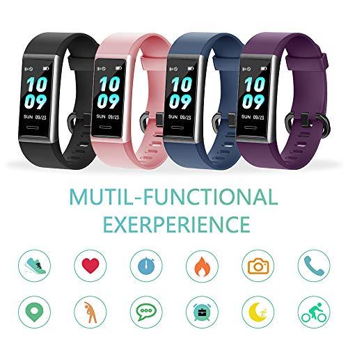 Imagen de kungix pulsera de inteligente mujer, smartwatch impermeable ip68 con 14 modos de deporte, 0.96 inch pantalla color reloj deportivo con pulsómetro para hombre android iphone ios teléfono alternativa
