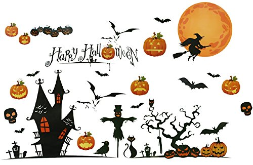 Naice Happy Halloween Vinilos Adhesivos Pared, Adhesivos Decorativos para Helloween, Vinilos Decorativos Pared Removible de Dormitorio